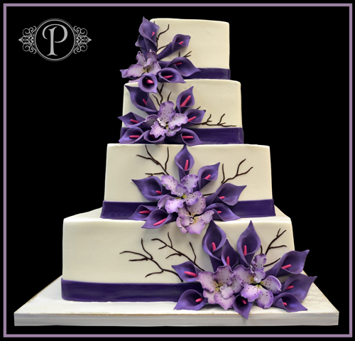 square wedding cakes purple flowers purple wedding theme we do weddings 20409
