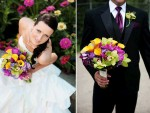 vibrant-wedding-flowers-bright-yellow-green-purple-orchids-bride-wears-white-wedding-dress-groom-in-black-tux.original
